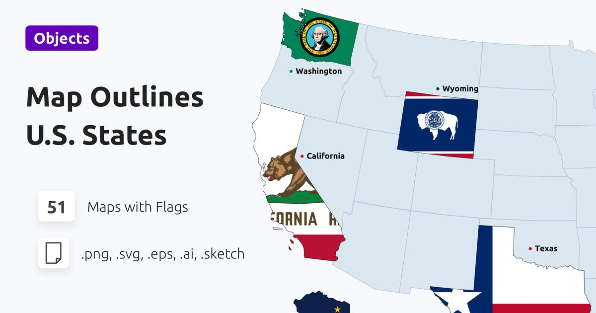 Download U.S. States Map Outlines with Flags by 42Theme