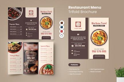 Restaurant Menü Trifold Broschüre
