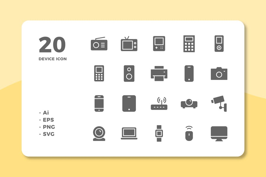 20 Device Icons (Solid)