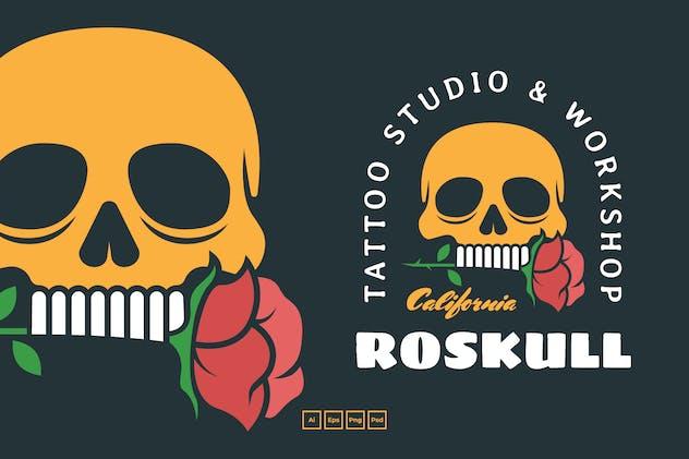 Rose Skull Badges Logo