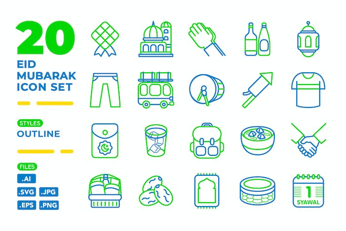 Thumbnail for Eid Mubarak Icon Set (Outline)