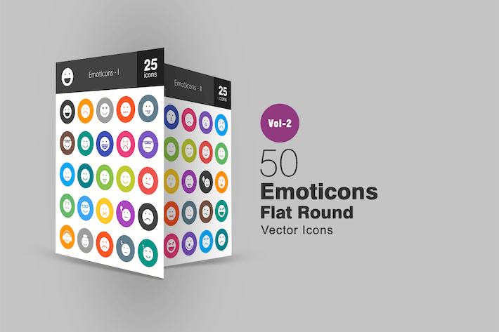 Thumbnail for 50 Emoticons Flat Round Icons