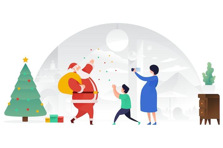 Thumbnail for Santa Claus bringing Joy Vector Illustration