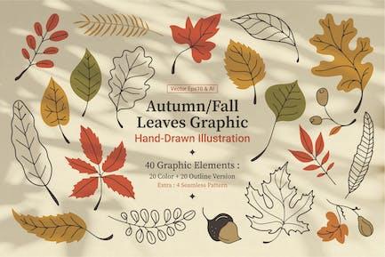 Gráfico de hojas dibujadas a mano para otoño/otoño