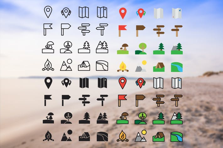 Thumbnail for Camping Icons Set