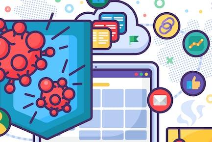 Antivirus computer protection software vector