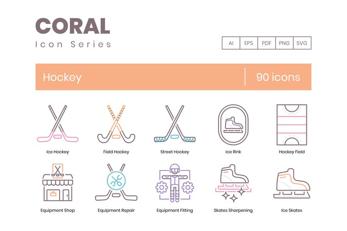 90 Hockey Line Icons