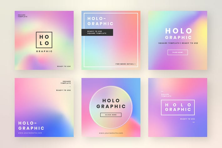 Thumbnail for Holographic website banner design vector set