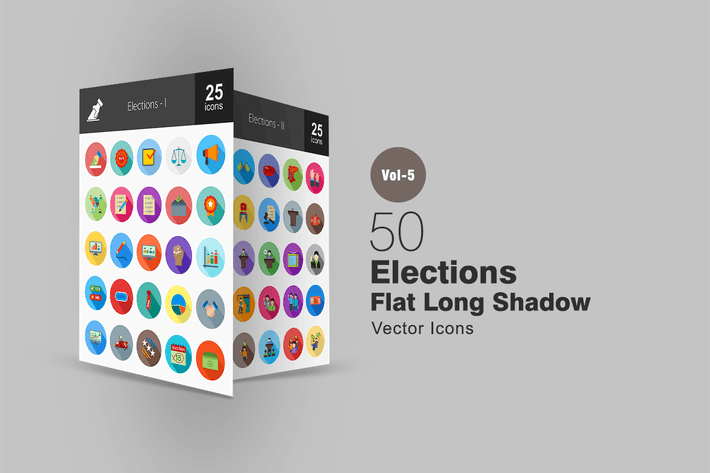 Thumbnail for 50 Elections Flat Shadowed Icons