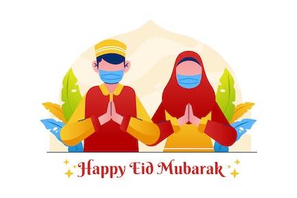 Happy Eid Mubarak Greeting Illustration