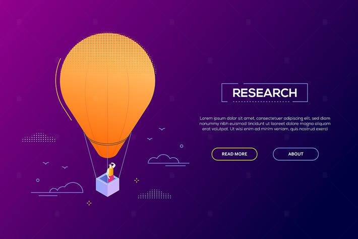 Thumbnail for Business research - modern isometric web banner