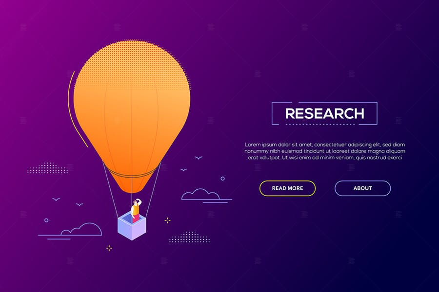 Business research - modern isometric web banner
