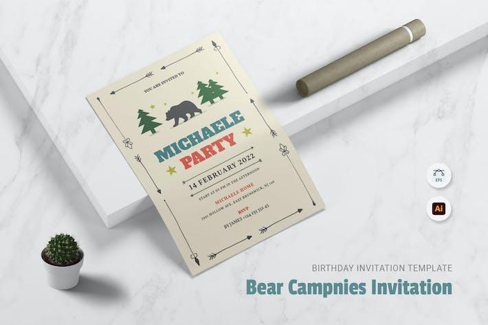 Thumbnail for Bear Campnies  Birthday Invitation