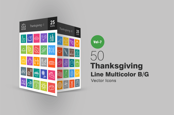 Thumbnail for 50 Thanksgiving Line Multicolor B/G Icons