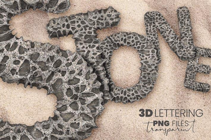 Poröser Stein 3D Buchstaben