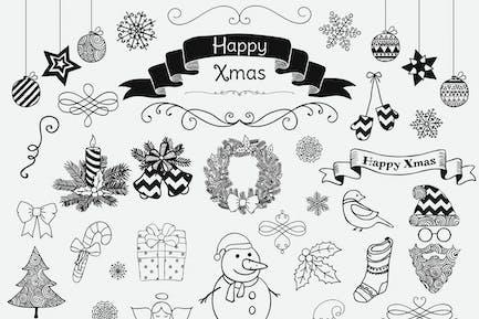 Separate Weihnachtskritzeleien. PNG, KI
