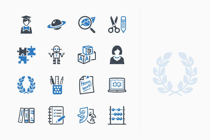 Thumbnail for Education Icons Set 5 - Blue Series