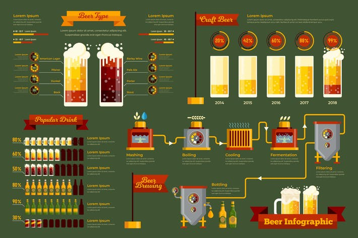 Thumbnail for Beer Infographic PSD and AI Vector Template
