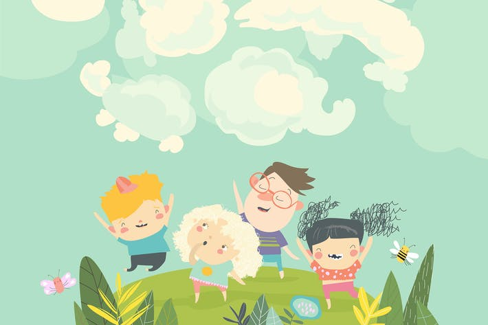 Thumbnail for Мультфильм счастливые дети смотрят облака в небе. Вец
