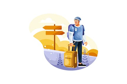 Backpackers Carry Suitcases to Travel Illustration