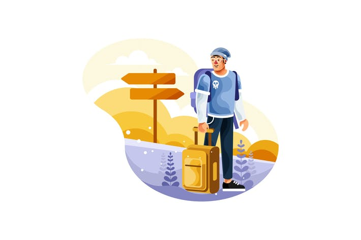 Backpackers tragen Koffer zu Reisen Illustration