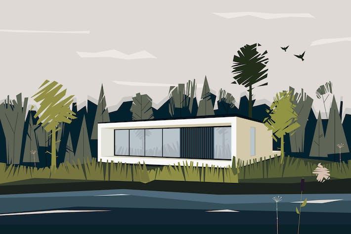Thumbnail for Vektor landschaft mit Haus und Wald