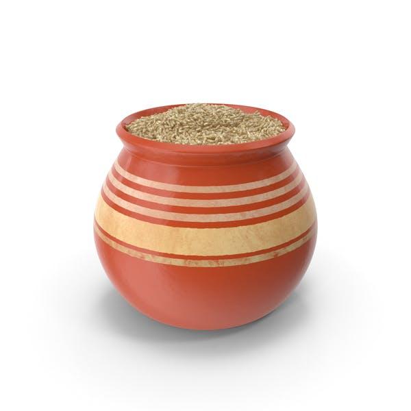 Keramiktopf mit braunem Reis