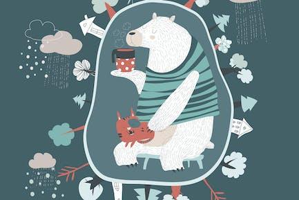 Bonito oso de Dibujos animados con Pequeño gato en la guarida. Vector