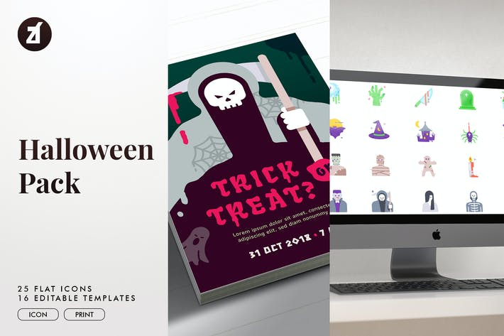 Thumbnail for Halloween icon pack with bonus graphic templates