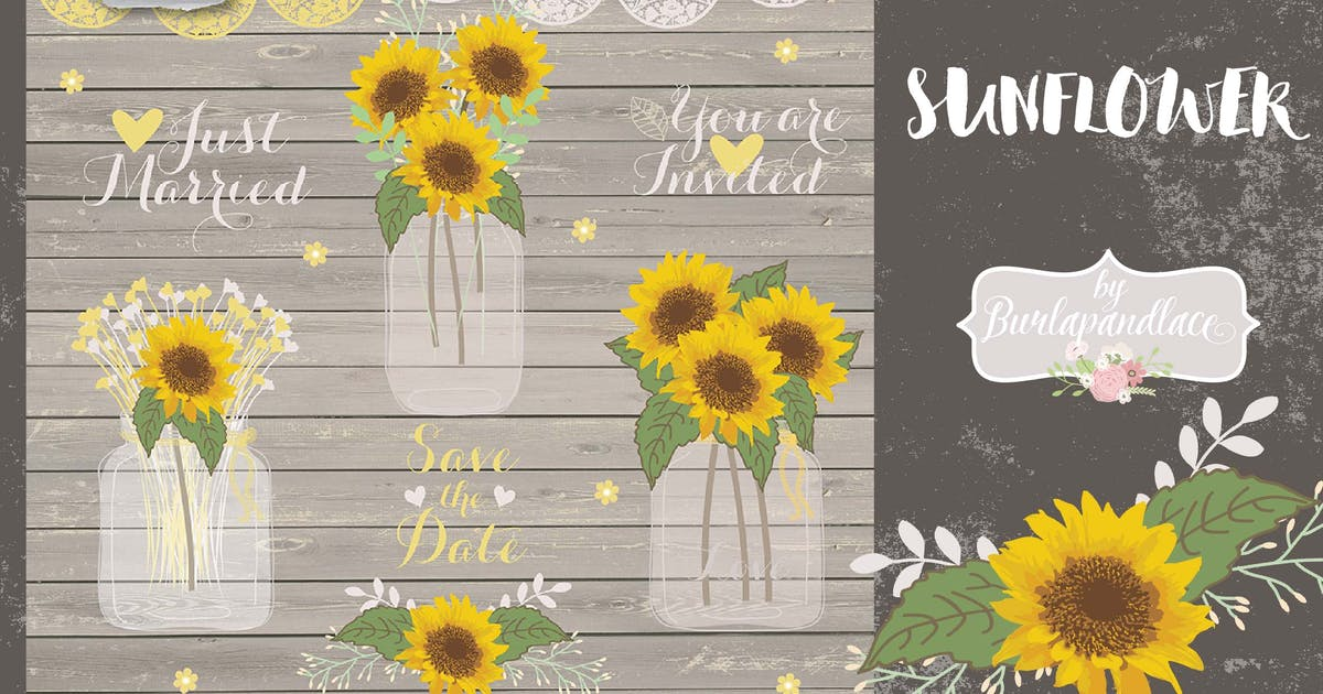 Download Vector sunflowers by burlapandlace