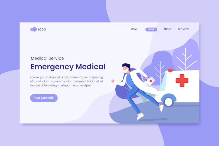 Emergency Medical Service Concept Landing Page