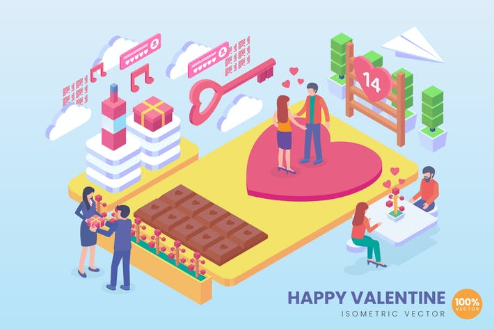 Thumbnail for Isometric Happy Valentine Vektor Konzept