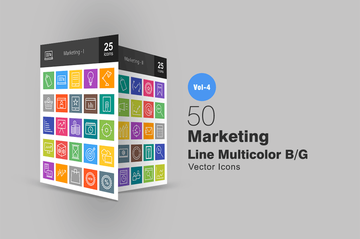 Thumbnail for 50 Marketing Line Multicolor Icons