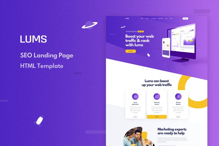 Cover Image For Lums - SEO Landing HTML Template