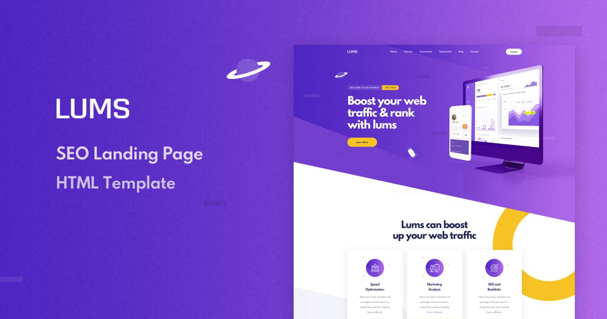 Download Lums - SEO Landing HTML Template by Layerdrops