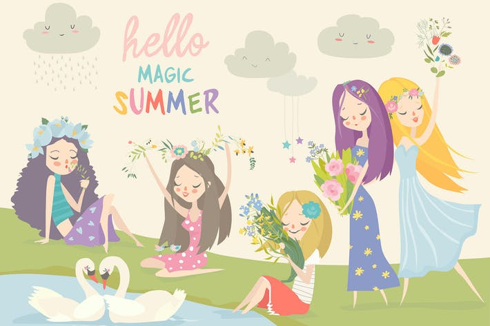 Thumbnail for Collection of beautiful girls with summer flowers.