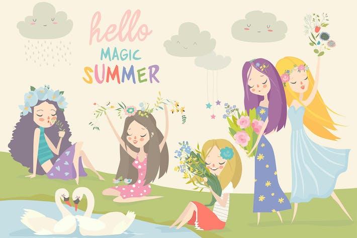 Thumbnail for Collection de belles filles avec des fleurs d'été.