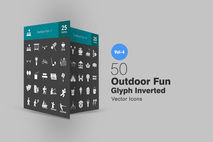 Cover Image For 50 Outdoor Fun Glyph Inverted Icons