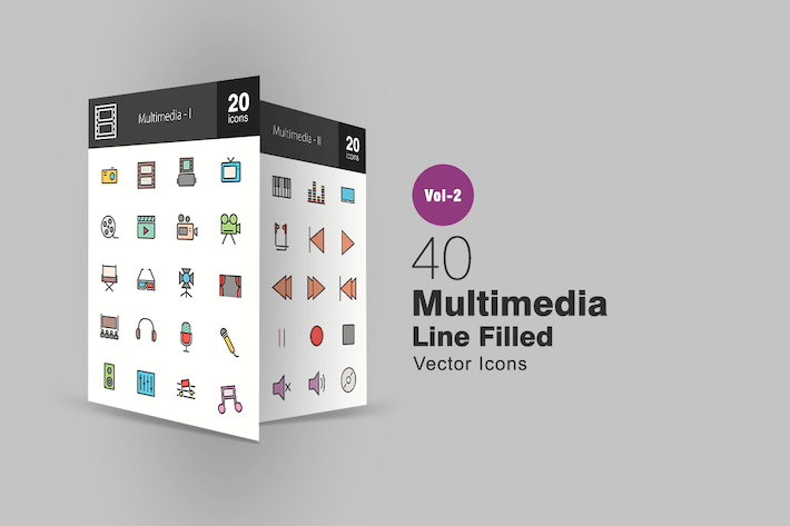 Thumbnail for 40 Multimedia Line Filled Icons