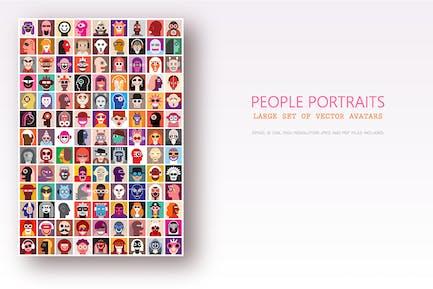 Большой набор портретов людей, вектор аватаров