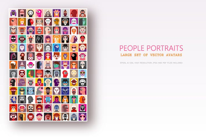 Thumbnail for Large set of people portraits, vector avatars