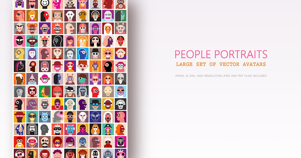Download Large set of people portraits, vector avatars by danjazzia