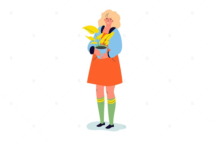 Thumbnail for A woman with a plant - flat design illustration