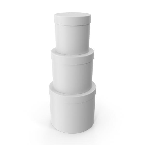 Thumbnail for Белые три круглые картонные коробки