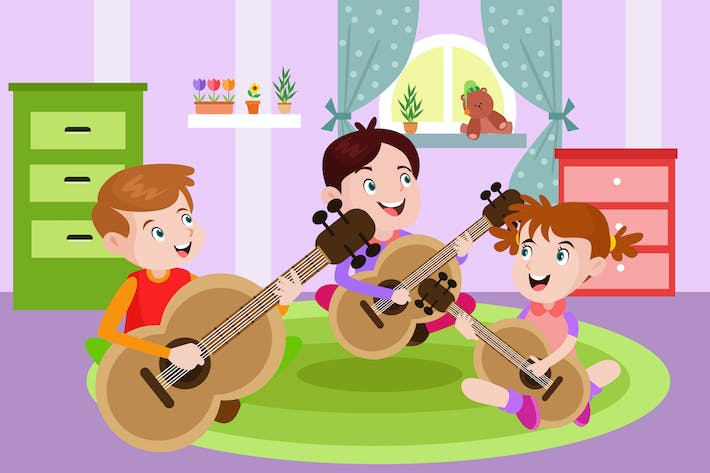Thumbnail for Kids Playing a Guitar - Activity Illustration