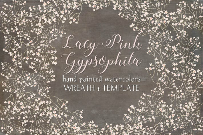 Thumbnail for Wreath of Lacy Pink Gypsophila
