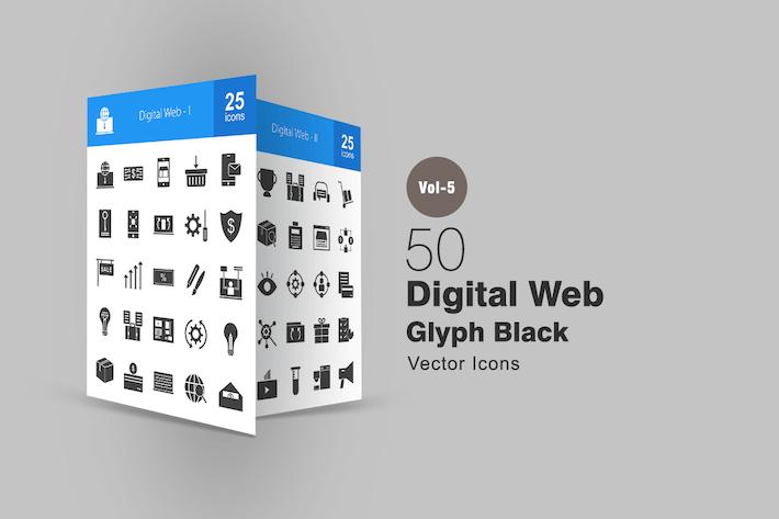Thumbnail for 50 Digital Web Glyph Icons