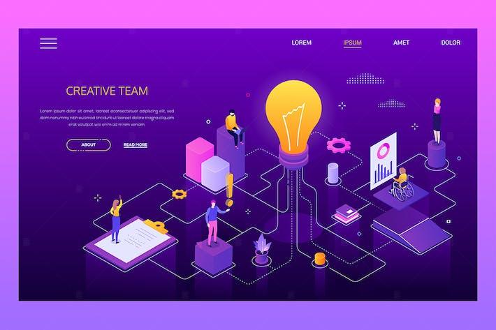 Thumbnail for Creativity at work - modern isometric banner