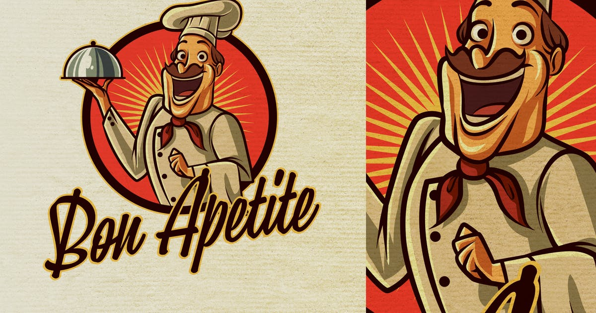 Download Vintage Retro Old Cook or Chef Mascot Logo 6.0 by Suhandi