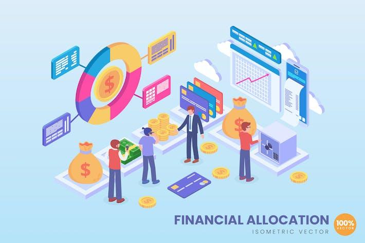 Thumbnail for Isometrische FinanzallokationsVektor konzept